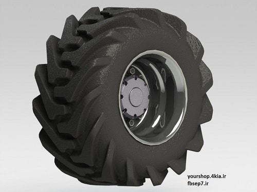 طراحی تایر تراکتور با سالیدورک  solidwork تایر به همراه رینگ و متعلقات