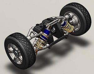 طراحی سیستم تعلیق خودرو در سالیدورک solidwork شامل تایر ، رینگ و فنر و …